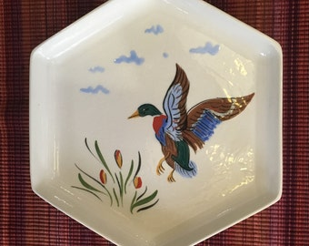 Decorative Wall Plate Hexagon Hand Painted Mallad Duck Ceramic/Pottery Signed Dated 1952, Unusual One of a Kind Hand Painted Duck Wall Plate