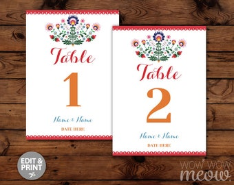 Fiesta Table Numbers Engagement Party Couple's Shower Mexican Cinco De May INSTANT DOWNLOAD Rehearsal Quinceanera Custom Editable Printable