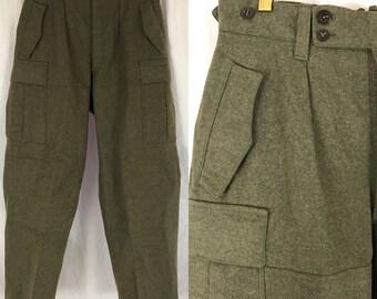Vintage Olive Green Wool Military Pants Oberrheinische Kleiderwerke Cargo Pants 1960 60s