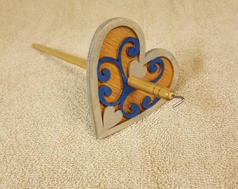 Hand Painted , Oak and Poplar Heart drop spindle