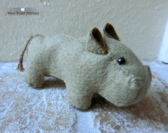 Hippo stuffed animal, handmade felt hippo, hippopotamus, zoo animal, animal gift, felt stuffed animal