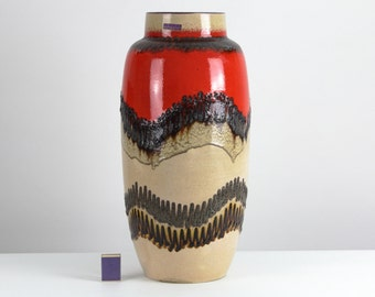 Fat Lava floor vase XL vintage ceramic by Scheurich, 70s, West German Pottery, Mid Century
