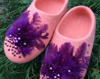 Felted Peach Wool Slippers with feathers and pearls House shoes Eco friendly Handmade shoes MADE TO ORDER