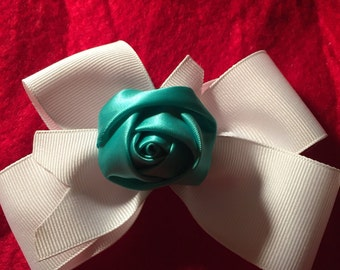 Turquoise Rose Hair Bow