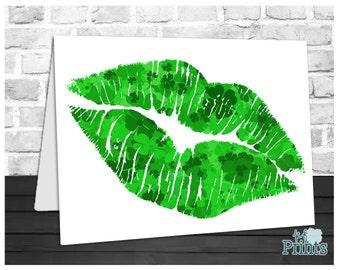 St Patrick's Day Card, Irish Lips, Shamrock Kiss, Kiss Me I'm Irish, Holiday Greeting Card, Instant Download, Digital Printable, 5x7 Card
