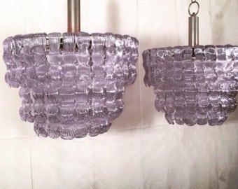 Pair of Italian handmade murano glass chandeliers in the style of Venini.