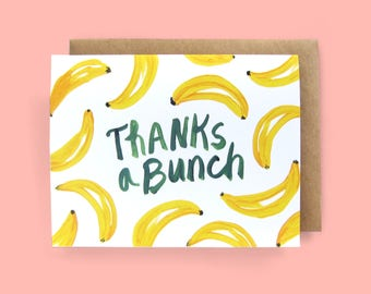 Greeting Card, THANK YOU, Bananas, Food Themed