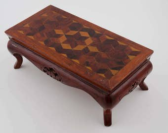 Free Ship Salesman Sample Table Carved And Inlaid Marquetry Parquet 13 1 8 Inches X