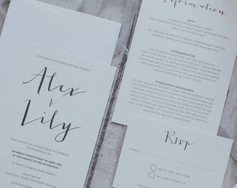 Printed, Simple and Modern Calligraphy Wedding Invitation Set. Includes Wedding Invite, Information Card, RSVP & Envelope.