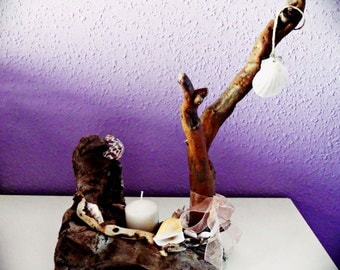 Candle holder tree wood sea, driftwood candleholder