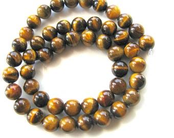 Tiger Eye beads, 15 inch strand, 49 beads, 8mm, golden brown, Jewelry supply B-1264