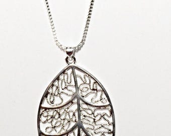 Silver Hollow Leaf Pendant On Sale Now