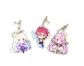 Shiro, Sora, and Jibril - Double Sided Front & Back No Game No Life Anime Acrylic Charms with Phone Strap