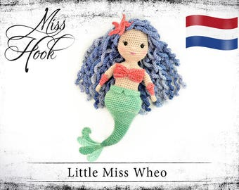 "Haakpatroon voor de pop ""Little Miss Wheo"" zeemeermin eBook PDF (dutch)"