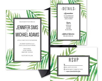 Wedding Invitation Sample- Tropical Palm Watercolor Suite