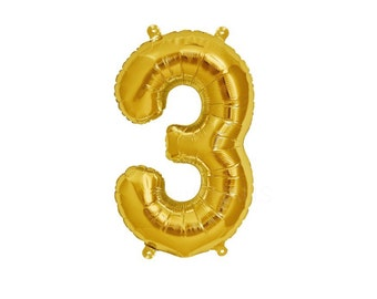 "Gold Number 3 Balloons, 16"" or 34"" Balloon 90cm - Three Biryhday balloon Alphabet or Number Foil Balloon - Foil Mylar -"