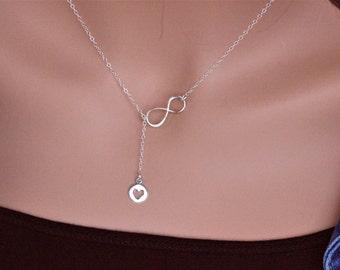 Infinity Heart Y necklace , heart infinity necklace, Silver Lariat Necklace, Y Necklace, Infinity Necklace  Girlfriend Gift, Wedding Jewelry