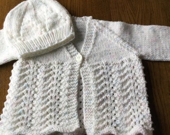 Baby Girl's Cardigan and Hat 0-6 months