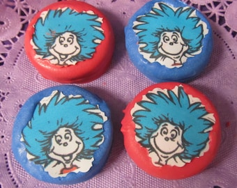 24 Seuss Thing 1 & Thing 2 chocolate covered cookies