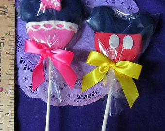 12 MIckey or Minnie Mouse Cookies on a stick Cookie pops