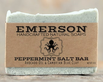 Peppermint Sea Salt Soap with Cambrian Blue Clay • Vegan Soap, All Natural Soap, Handmade Soap, Palm Free Soap