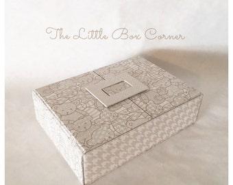 Handmade Cartonnage  Baby Box Organizer, Fabric Box, Gift Box, Keepsakes Box