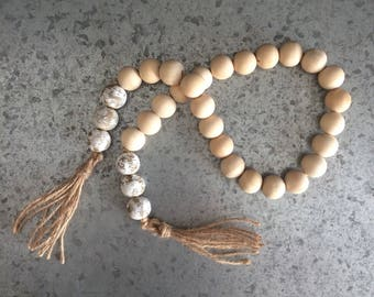 Raw Wood and Chippy White Farmhouse Bead Garland with Tassels