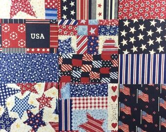 Patriotic quilting squares charm pack, 4 inch quilt squares, 45 4x4 quilt squares, assorted patchwork quilt squares