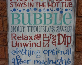 HOT TUB  Sign/FATHERS  Day Gift/Housewarming/Hostess Gift/Hot Tub Rules
