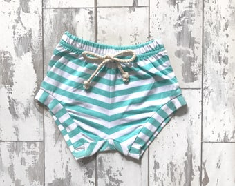 Teal striped jogger shorties
