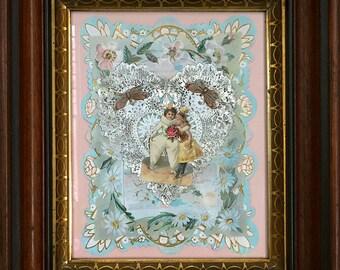 Victorian Valentine,  Pierrot, Victorian Scrap Book, Victorian Die Cut, Collage, Paper Craft, Victorian, Valentine, Antique Frame, Antique