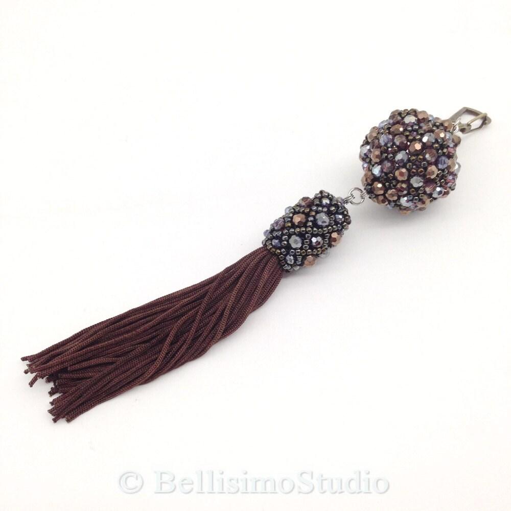 Tassel key chain, Beaded Ball Tassel Charms, Purse Charm