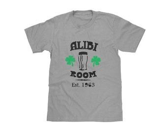 Men's Alibi Room Shirt from Shameless, Green Shamrocks and Black Ink on Grey Crew Neck,Vintage Style, Anniversary Gift for Men, Husband