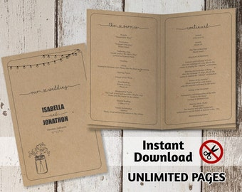 Ceremony booklet etsy printable wedding ceremony book template unlimited pages multi page program booklet rustic pronofoot35fo Choice Image