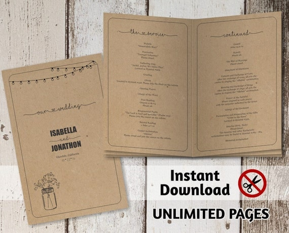 Printable Wedding Ceremony Book Template Unlimited Pages