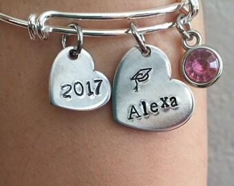 graduation bracelets-2017 graduation bracelet with name and birthstone