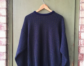 Vintage Blue Green Stitched Pullover // Classy Soft Sweater // Heather And Archer // 90's Sweaters