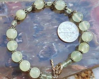 Pale Jade sterling silver bracelet