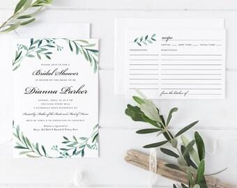 Printable Leaves Green Wreath Bridal Shower Invitation, Printable Foliage Botanical Plants Wreath Shower Invitation with Recipe Card