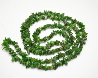 "1 strand 32"" length Natural Green Diopside  Stone Chips Loose Beads Jewelry making materials"