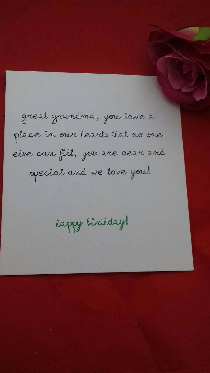Happy Birthday Great Grandma Card Great Grandmother Cards