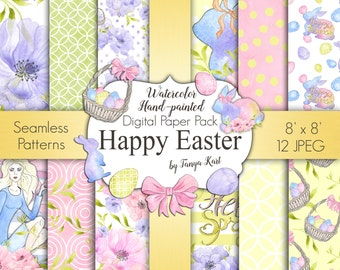 Spring Digital Paper Pack, Easter Digital Paper, Watercolor Digital Paper, Planner Stickers Paper, Girls Digital Paper, Bunny Digital Paper