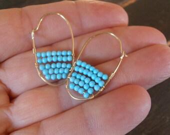 Gold filled Turquoise Earrings -Turquoise Hoop Earrings  -Oval gold earrings - Gold and Turquoise Hoop Earrings