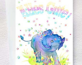 Lucky Elephant - Charming birthday card with vibrant colors (German writing)