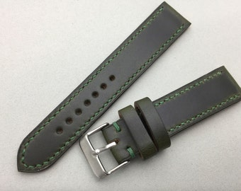 Horween Chromexcel watch strap in Dark green, Custom handmade and stitched. 16mm, 17mm, 18mm, 19mm, 20mm, 21mm, 22mm.