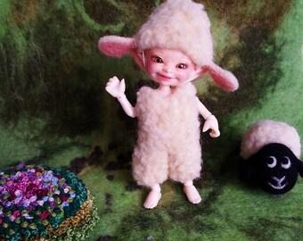 "OOAK Felted outfit ""Lamb Tammy"" for Realpuki - Realpuki outfit - Realpuki clothes"