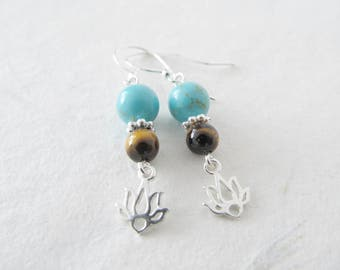 Lotus earrings, turquoise earrings, yoga earrings, sterling silver earrings