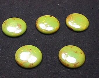 Five Vintage Bakelite ? Round Green Discs