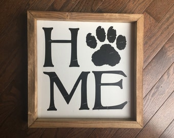 Home Paw Print Wood Sign