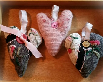 Puffy Heart Ornament Set Handmade Upcycled Sweater Decorations Christmas Home Decor Valentine's Day Love